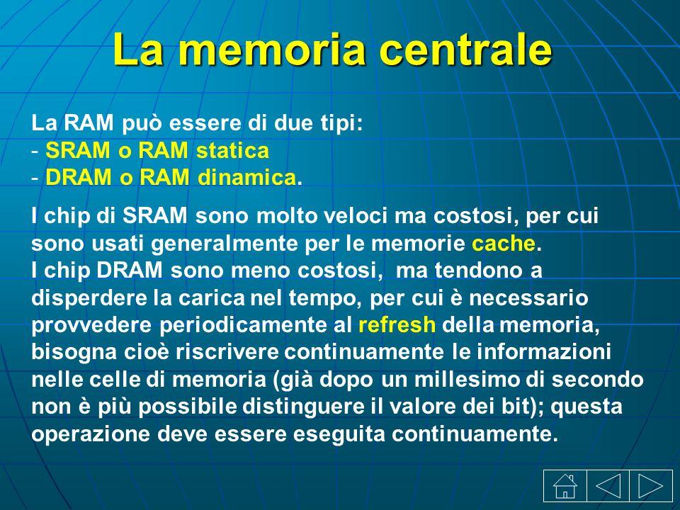 La memoria centrale La RAM può essere di due tipi: - SRAM o RAM statica - DRAM o RAM dinamica.
