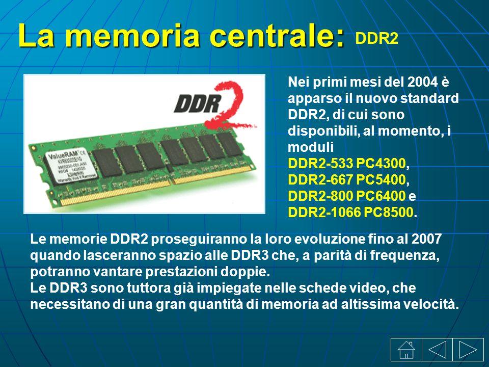 La memoria centrale: DDR2 Nei primi mesi del 2004 è apparso il nuovo standard DDR2, di cui sono disponibili, al momento, i moduli DDR2-533 PC4300, DDR2-667 PC5400, DDR2-800 PC6400 e DDR2-1066 PC8500.