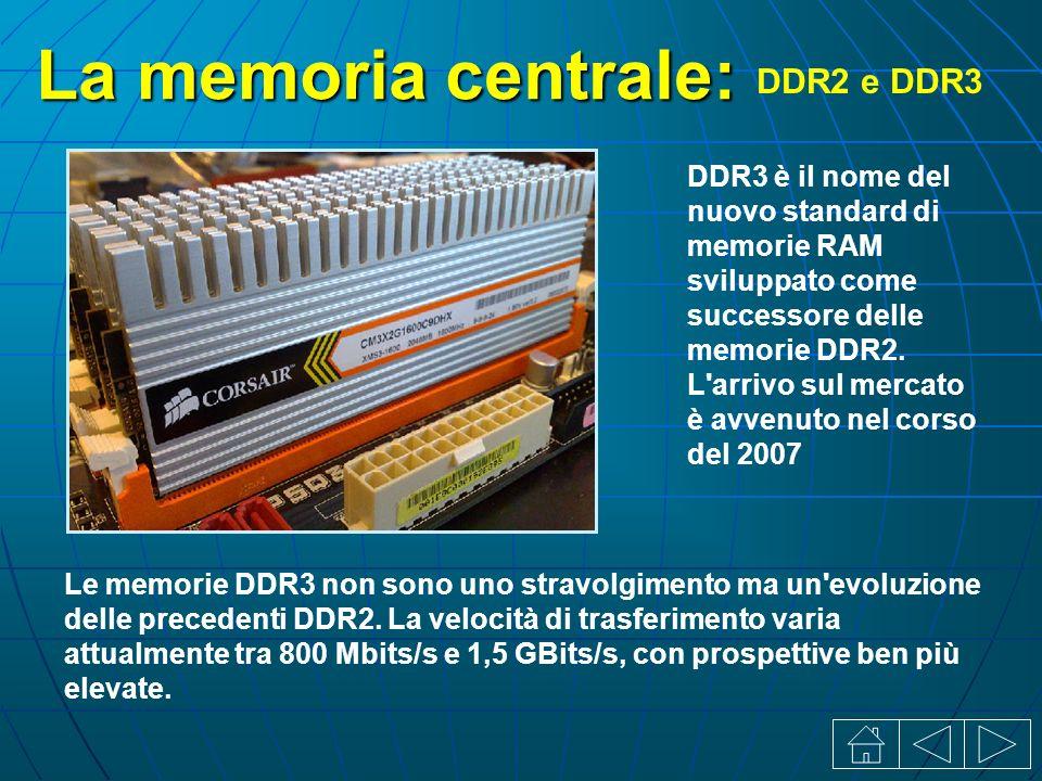 La memoria centrale: DDR2 e DDR3 DDR3 è il nome del nuovo standard di memorie RAM sviluppato come successore delle memorie DDR2.