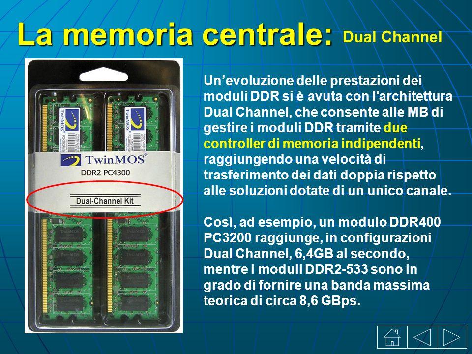 La memoria centrale: Dual Channel Unevoluzione delle prestazioni dei moduli DDR si è avuta con l architettura Dual Channel, che consente alle MB di gestire i moduli DDR tramite due controller di memoria indipendenti, raggiungendo una velocità di trasferimento dei dati doppia rispetto alle soluzioni dotate di un unico canale.