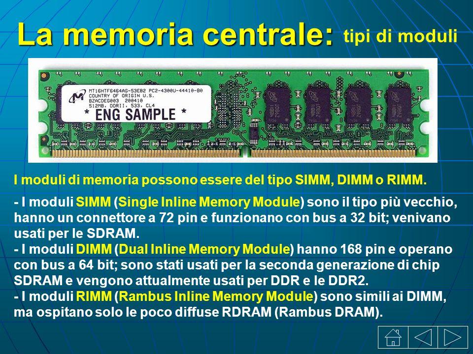 La memoria centrale: tipi di moduli I moduli di memoria possono essere del tipo SIMM, DIMM o RIMM.