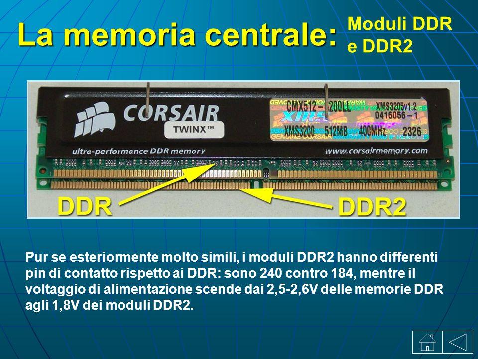 La memoria centrale: Moduli DDR e DDR2 Pur se esteriormente molto simili, i moduli DDR2 hanno differenti pin di contatto rispetto ai DDR: sono 240 contro 184, mentre il voltaggio di alimentazione scende dai 2,5-2,6V delle memorie DDR agli 1,8V dei moduli DDR2.