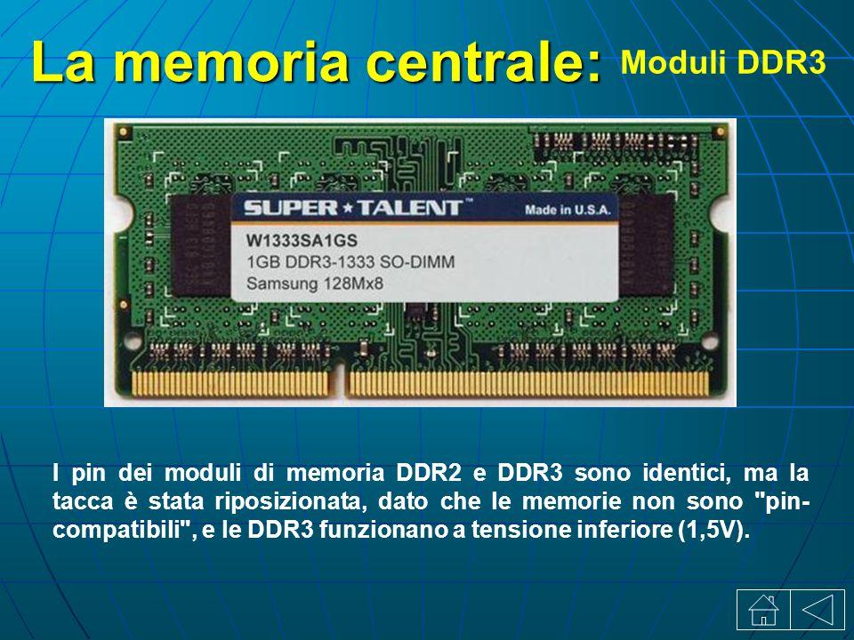 La memoria centrale: Moduli DDR3 I pin dei moduli di memoria DDR2 e DDR3 sono identici, ma la tacca è stata riposizionata, dato che le memorie non sono pin- compatibili , e le DDR3 funzionano a tensione inferiore (1,5V).