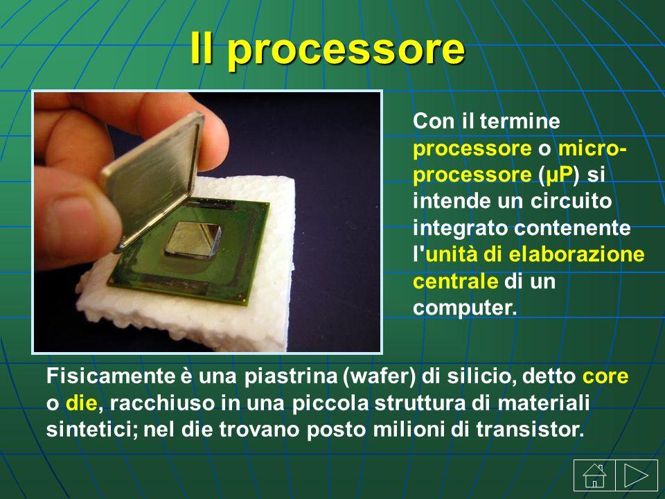 Il processore Con il termine processore o micro processore (μP) si intende un circuito integrato contenente l unità di elaborazione centrale di un computer.