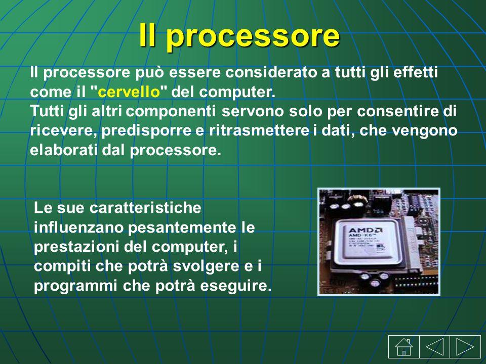 Il processore Il processore può essere considerato a tutti gli effetti come il cervello del computer.