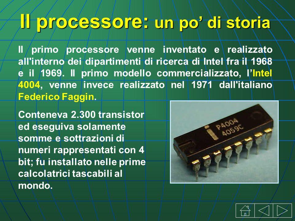 Il processore: un po di storia Il primo processore venne inventato e realizzato all interno dei dipartimenti di ricerca di Intel fra il 1968 e il 1969.