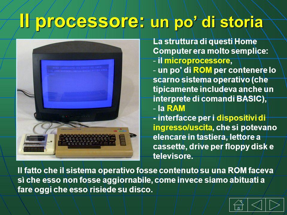 Il processore: un po di storia La struttura di questi Home Computer era molto semplice: - il microprocessore, - un po di ROM per contenere lo scarno sistema operativo (che tipicamente includeva anche un interprete di comandi BASIC), - la RAM - interfacce per i dispositivi di ingresso/uscita, che si potevano elencare in tastiera, lettore a cassette, drive per floppy disk e televisore.