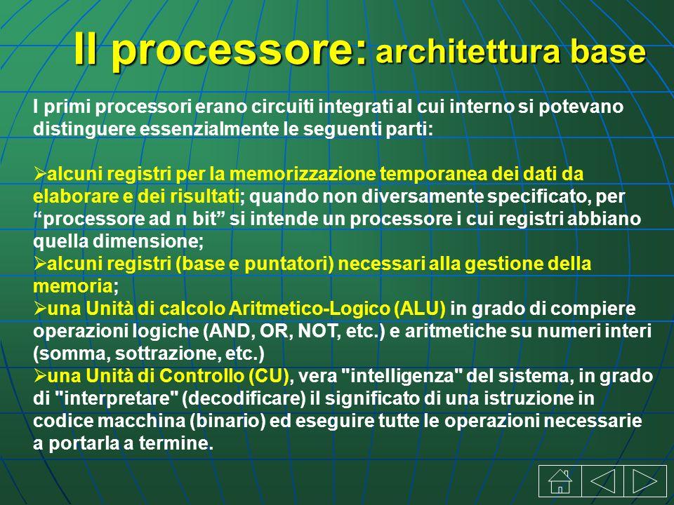 I primi processori erano circuiti integrati al cui interno si potevano distinguere essenzialmente le seguenti parti: alcuni registri per la memorizzazione temporanea dei dati da elaborare e dei risultati; quando non diversamente specificato, per processore ad n bit si intende un processore i cui registri abbiano quella dimensione; alcuni registri (base e puntatori) necessari alla gestione della memoria; una Unità di calcolo Aritmetico-Logico (ALU) in grado di compiere operazioni logiche (AND, OR, NOT, etc.) e aritmetiche su numeri interi (somma, sottrazione, etc.) una Unità di Controllo (CU), vera intelligenza del sistema, in grado di interpretare (decodificare) il significato di una istruzione in codice macchina (binario) ed eseguire tutte le operazioni necessarie a portarla a termine.