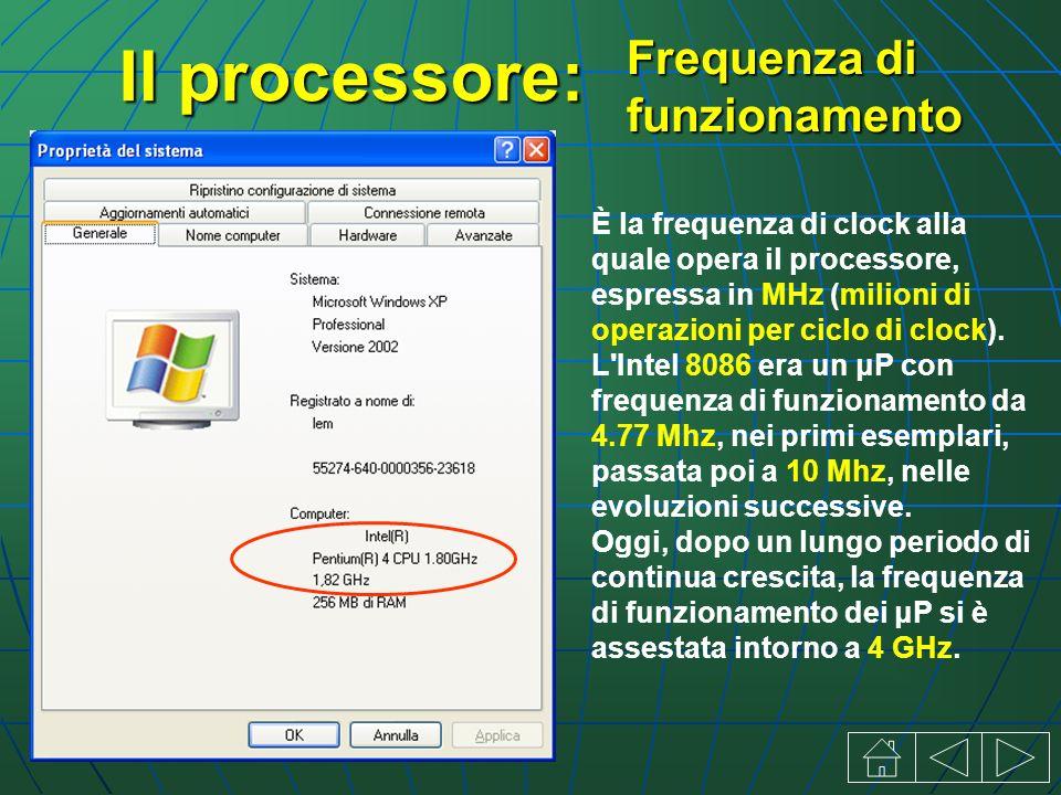 Il processore: È la frequenza di clock alla quale opera il processore, espressa in MHz (milioni di operazioni per ciclo di clock).