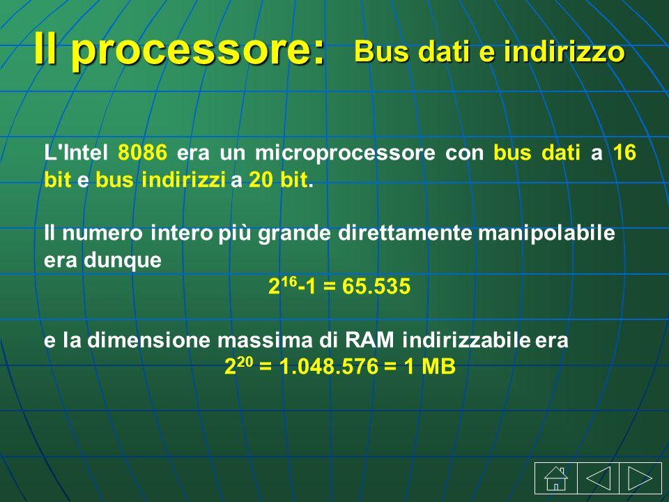Il processore: L Intel 8086 era un microprocessore con bus dati a 16 bit e bus indirizzi a 20 bit.