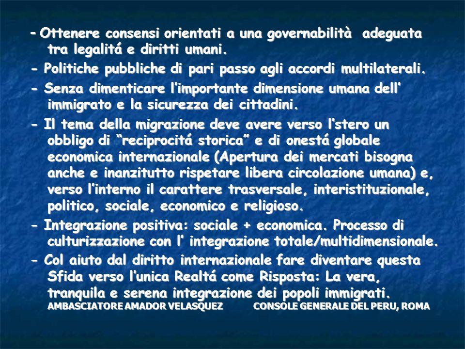- Ottenere consensi orientati a una governabilità adeguata tra legalitá e diritti umani. - Politiche pubbliche di pari passo agli accordi multilateral