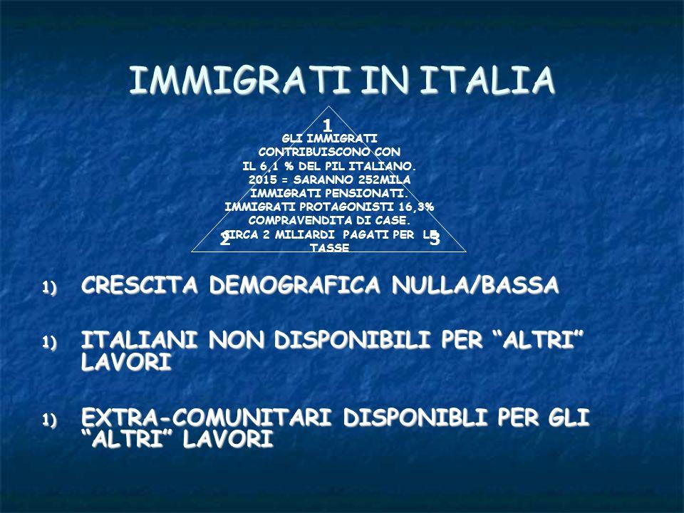 IMMIGRATI IN ITALIA 1) CRESCITA DEMOGRAFICA NULLA/BASSA 1) ITALIANI NON DISPONIBILI PER ALTRI LAVORI 1) EXTRA-COMUNITARI DISPONIBLI PER GLI ALTRI LAVO