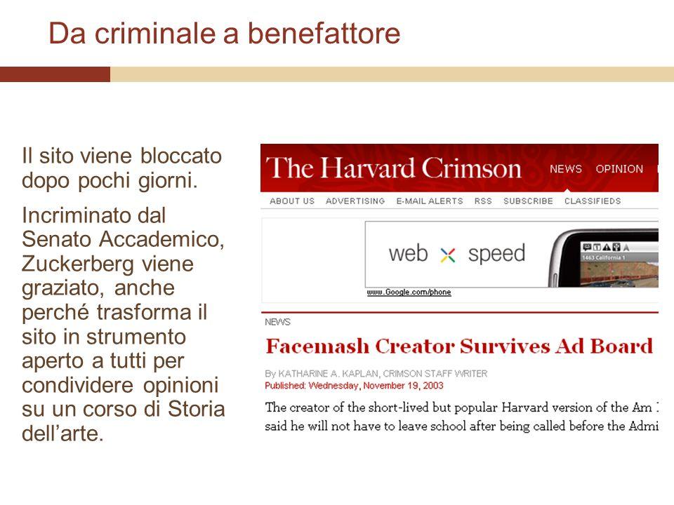 Da criminale a benefattore Il sito viene bloccato dopo pochi giorni.