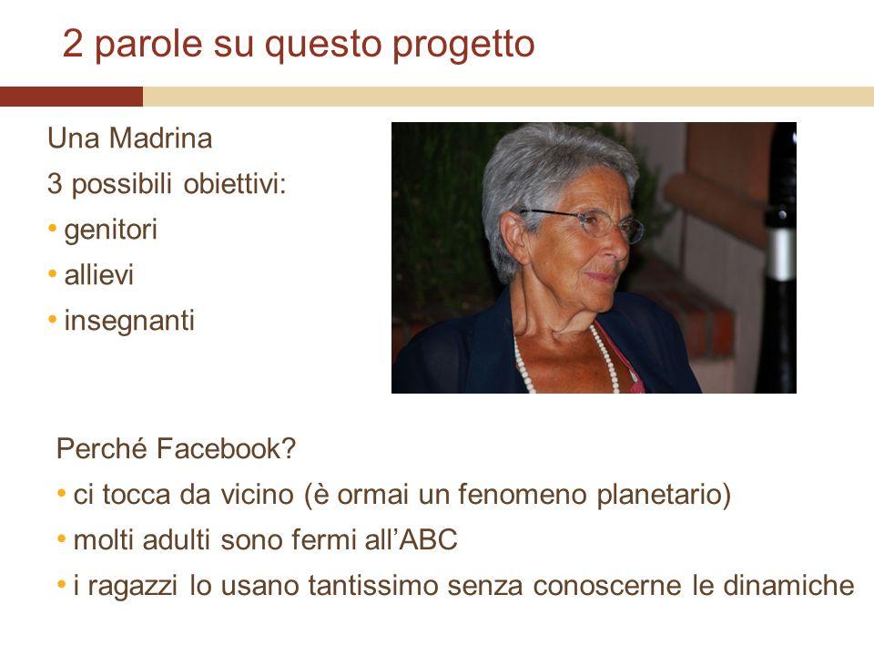 2 parole su questo progetto Una Madrina 3 possibili obiettivi: genitori allievi insegnanti Perché Facebook.