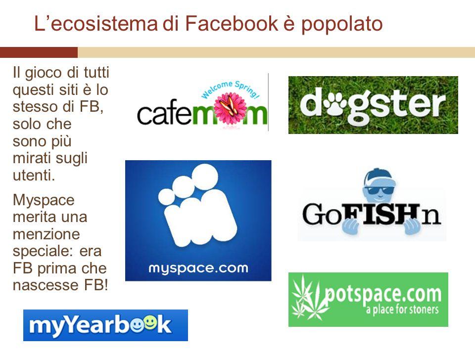 Lecosistema di Facebook è popolato Il gioco di tutti questi siti è lo stesso di FB, solo che sono più mirati sugli utenti.