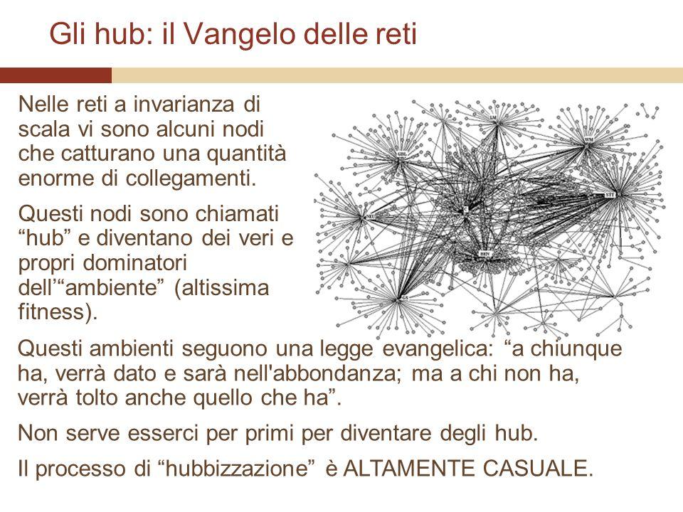 Gli hub: il Vangelo delle reti Nelle reti a invarianza di scala vi sono alcuni nodi che catturano una quantità enorme di collegamenti.
