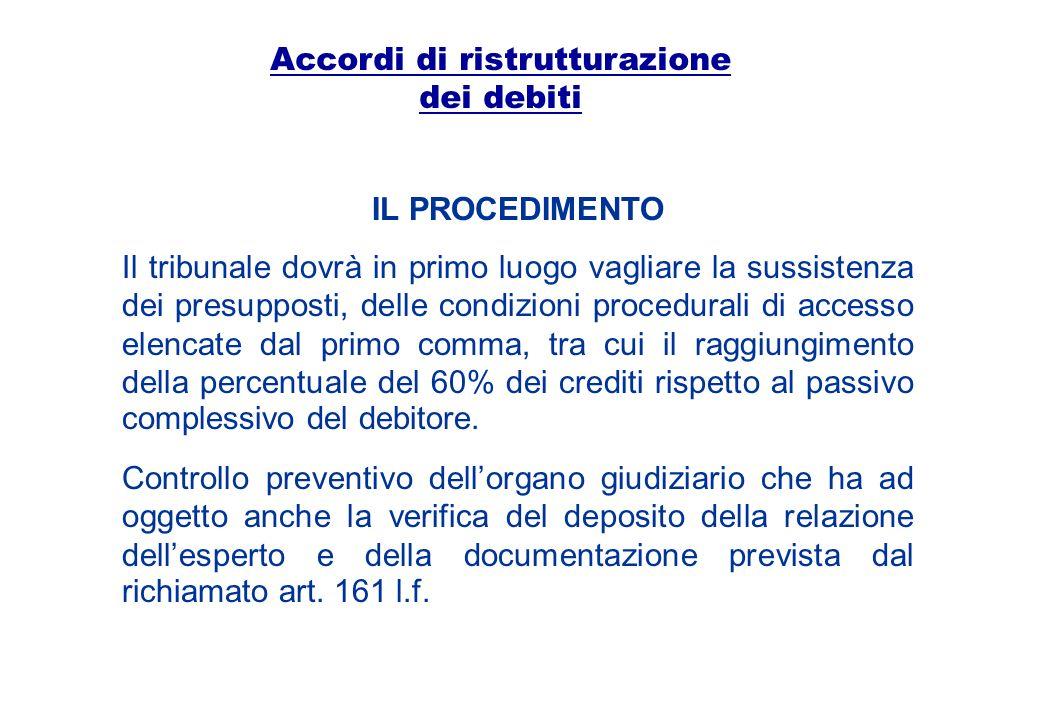 Accordi di ristrutturazione dei debiti IL PROCEDIMENTO Il tribunale dovrà in primo luogo vagliare la sussistenza dei presupposti, delle condizioni pro