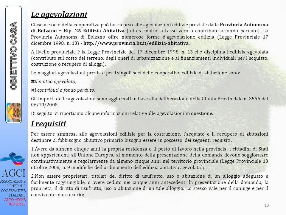 Le agevolazioni Ciascun socio della cooperativa può far ricorso alle agevolazioni edilizie previste dalla Provincia Autonoma di Bolzano – Rip. 25 Edil