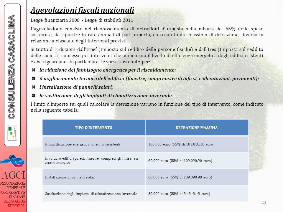 23 Agevolazioni fiscali nazionali Legge finanziaria 2008 - Legge di stabilità 2011 Lagevolazione consiste nel riconoscimento di detrazioni dimposta ne
