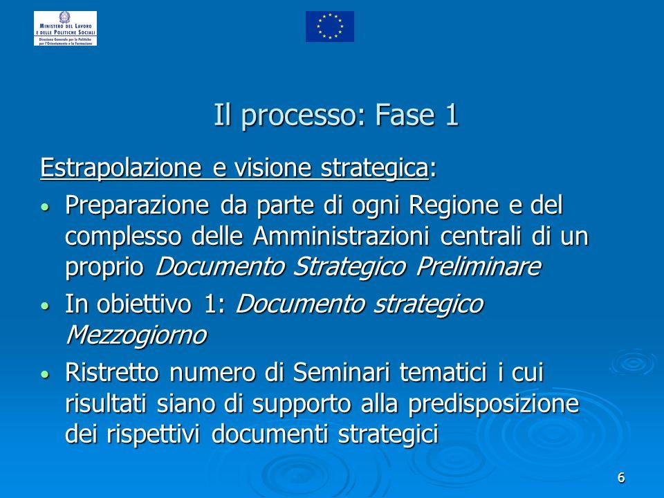 7 Il processo: Fase 2 Confronto strategico Regioni-Centro: Confronto tra i due livelli di governo sulla base dei documenti strategici preliminari predisposti Confronto tra i due livelli di governo sulla base dei documenti strategici preliminari predisposti Per obb.