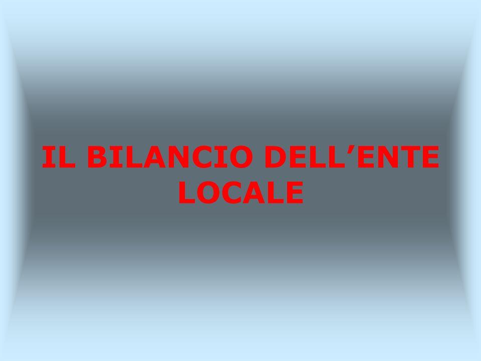 IL BILANCIO DELLENTE LOCALE