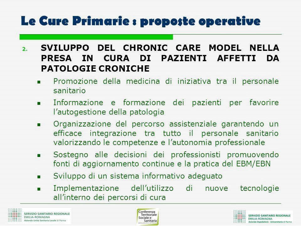 Le Cure Primarie : proposte operative 2. SVILUPPO DEL CHRONIC CARE MODEL NELLA PRESA IN CURA DI PAZIENTI AFFETTI DA PATOLOGIE CRONICHE Promozione dell