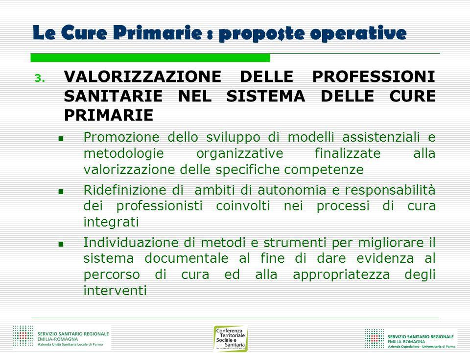 Le Cure Primarie : proposte operative 3. VALORIZZAZIONE DELLE PROFESSIONI SANITARIE NEL SISTEMA DELLE CURE PRIMARIE Promozione dello sviluppo di model