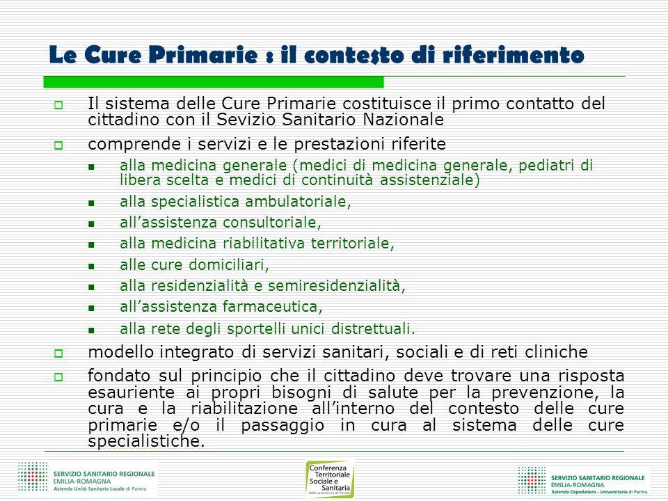 Le Cure Primarie : il contesto di riferimento Il sistema delle Cure Primarie costituisce il primo contatto del cittadino con il Sevizio Sanitario Nazi
