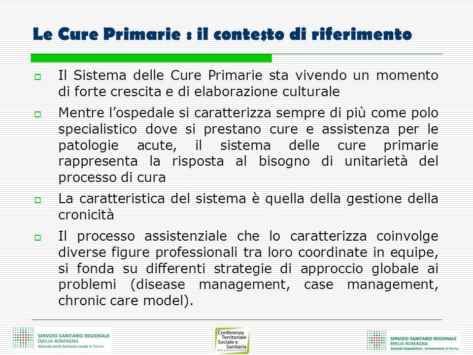 Le Cure Primarie : il contesto di riferimento Il Sistema delle Cure Primarie sta vivendo un momento di forte crescita e di elaborazione culturale Ment