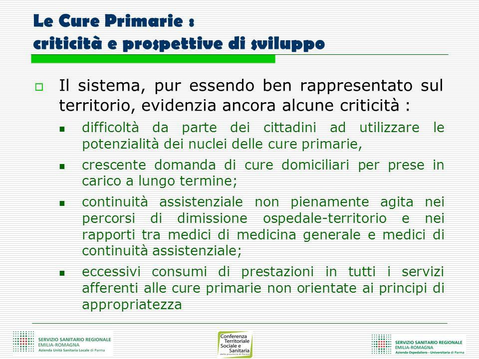 Le Cure Primarie : criticità e prospettive di sviluppo Il sistema, pur essendo ben rappresentato sul territorio, evidenzia ancora alcune criticità : d