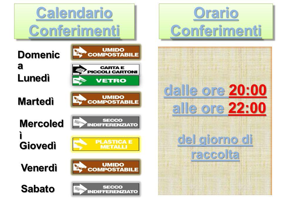 Calendario Conferimenti Domenic a Lunedì Martedì Mercoled ì Giovedì Venerdì Sabato Orario Conferimenti dalle ore 20:00 alle ore 22:00 alle ore 22:00 del giorno di raccolta