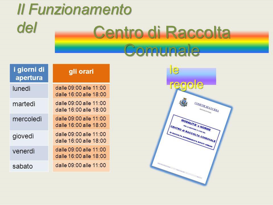Il Funzionamento del Centro di Raccolta Comunale i giorni di apertura lunedì martedì mercoledì giovedì venerdì sabato gli orari dalle 09:00 alle 11:00 dalle 16:00 alle 18:00 dalle 09:00 alle 11:00 dalle 16:00 alle 18:00 dalle 09:00 alle 11:00 dalle 16:00 alle 18:00 dalle 09:00 alle 11:00 dalle 16:00 alle 18:00 dalle 09:00 alle 11:00 dalle 16:00 alle 18:00 dalle 09:00 alle 11:00 le regole