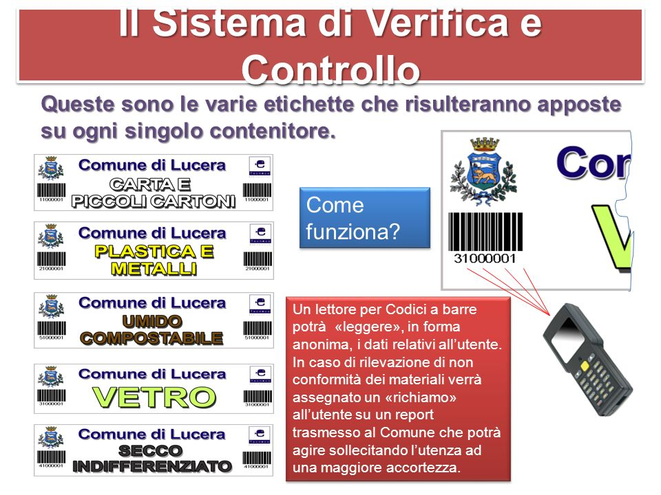 Il Sistema di Verifica e Controllo Queste sono le varie etichette che risulteranno apposte su ogni singolo contenitore.