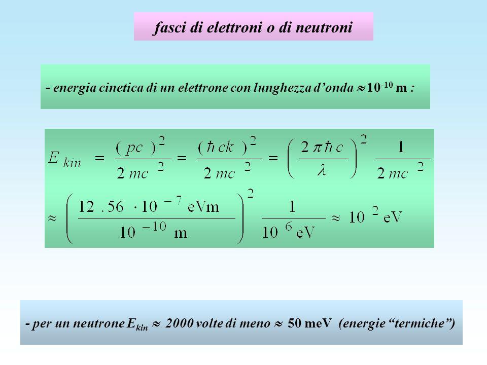 fasci di elettroni o di neutroni - energia cinetica di un elettrone con lunghezza donda 10 -10 m : - per un neutrone E kin 2000 volte di meno 50 meV (energie termiche)