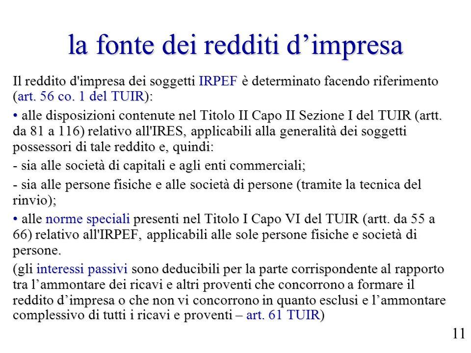 la fonte dei redditi dimpresa Il reddito d'impresa dei soggetti IRPEF è determinato facendo riferimento (art. 56 co. 1 del TUIR): alle disposizioni co