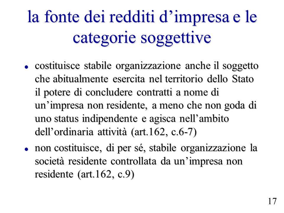 la fonte dei redditi dimpresa e le categorie soggettive costituisce stabile organizzazione anche il soggetto che abitualmente esercita nel territorio