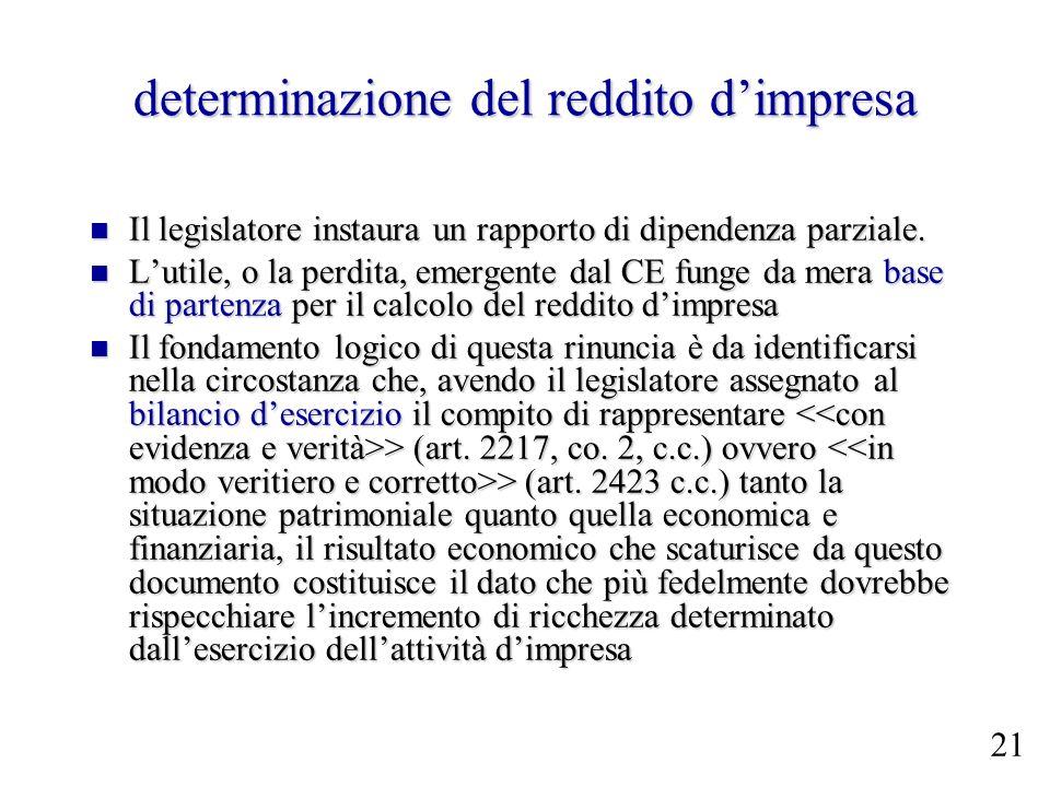 determinazione del reddito dimpresa Il legislatore instaura un rapporto di dipendenza parziale. Il legislatore instaura un rapporto di dipendenza parz