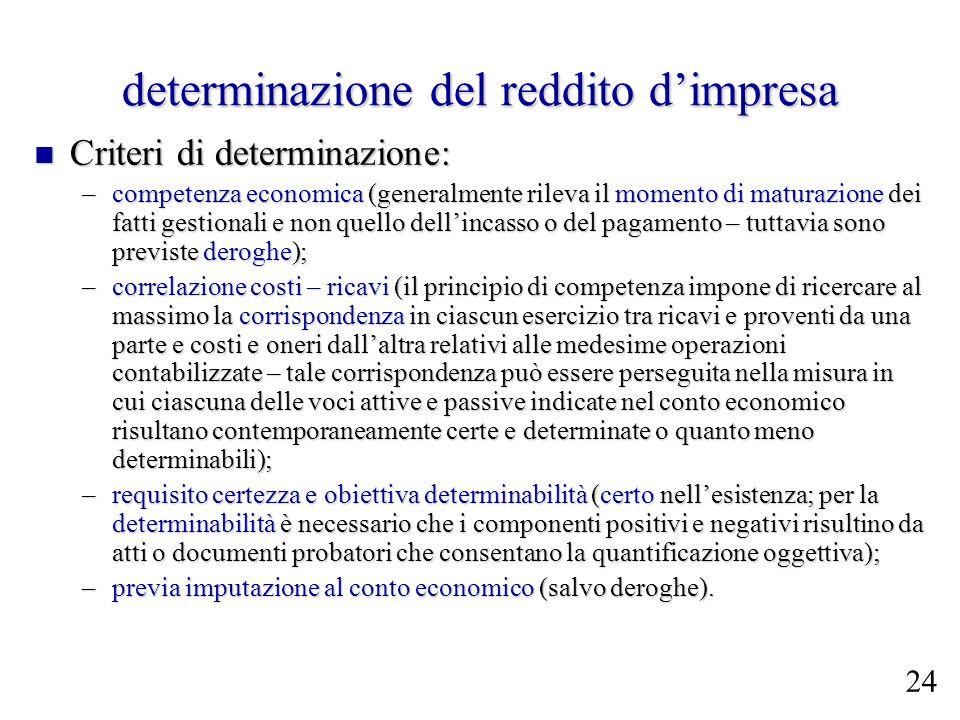 determinazione del reddito dimpresa Criteri di determinazione: Criteri di determinazione: –competenza economica (generalmente rileva il momento di mat