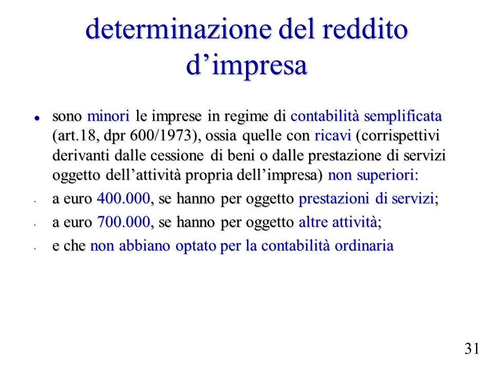 determinazione del reddito dimpresa sono minori le imprese in regime di contabilità semplificata (art.18, dpr 600/1973), ossia quelle con ricavi (corr