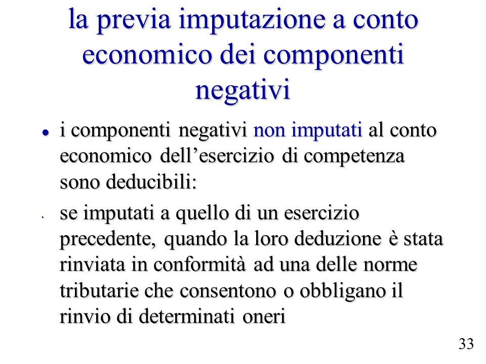 la previa imputazione a conto economico dei componenti negativi i componenti negativi non imputati al conto economico dellesercizio di competenza sono