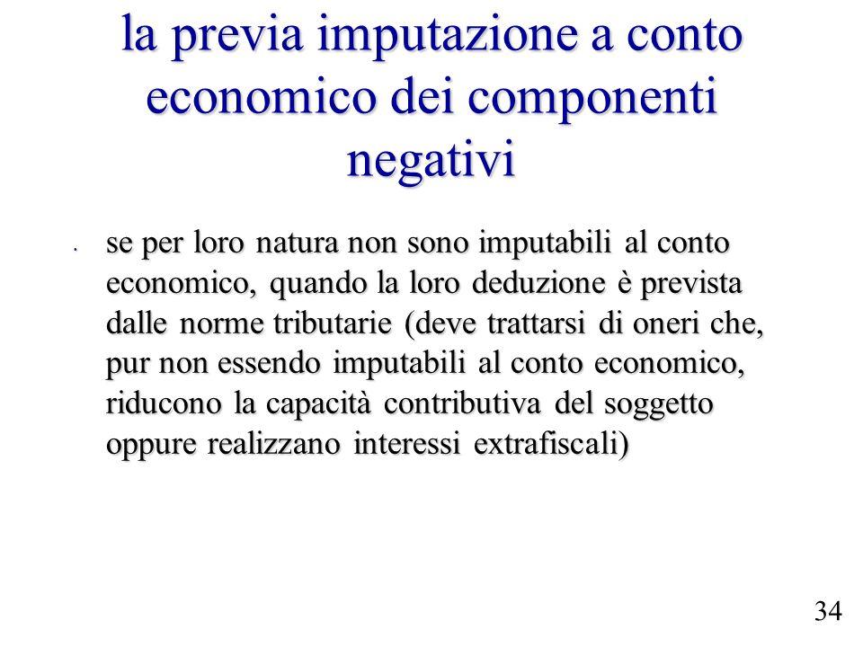 la previa imputazione a conto economico dei componenti negativi se per loro natura non sono imputabili al conto economico, quando la loro deduzione è