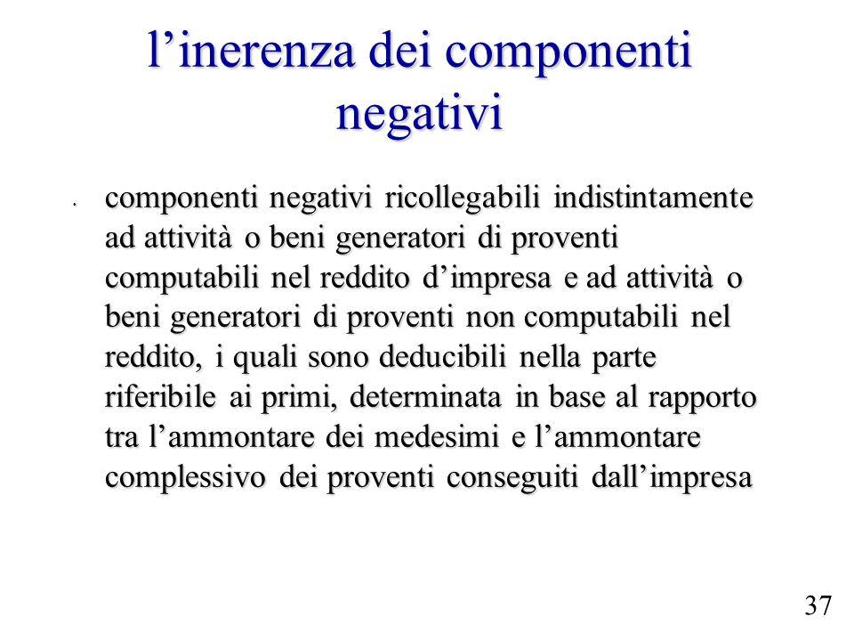 linerenza dei componenti negativi componenti negativi ricollegabili indistintamente ad attività o beni generatori di proventi computabili nel reddito