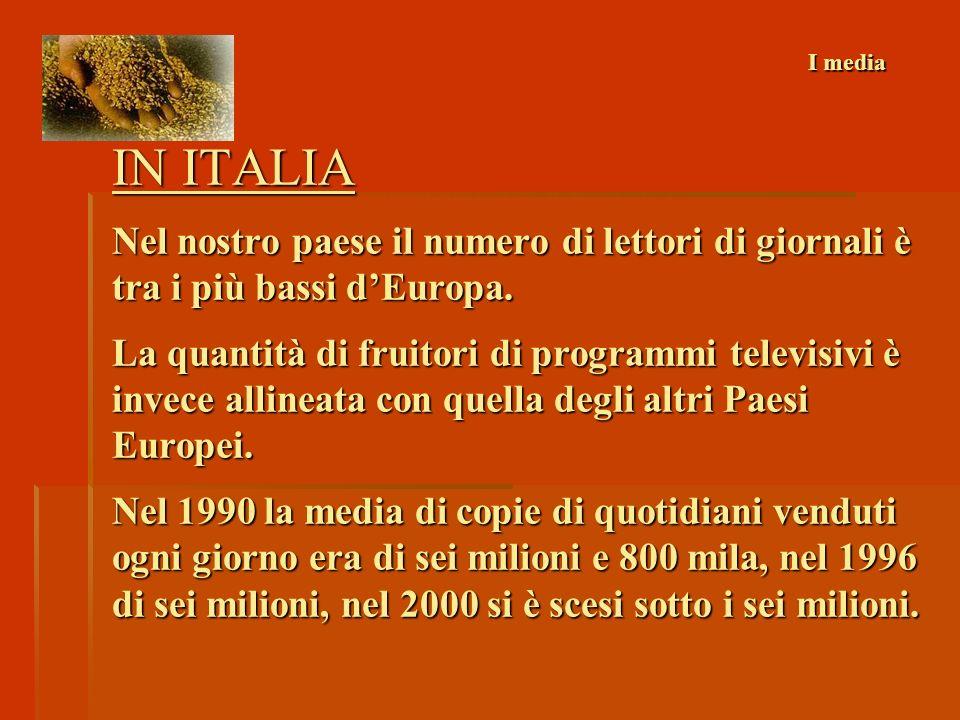 ALCUNI DATI Corriere della sera Quotidianogeneralistapiù venduto, oltre 700.000 copie Sole 24 Ore quotidiano specializzato più venduto in Europa, ca.