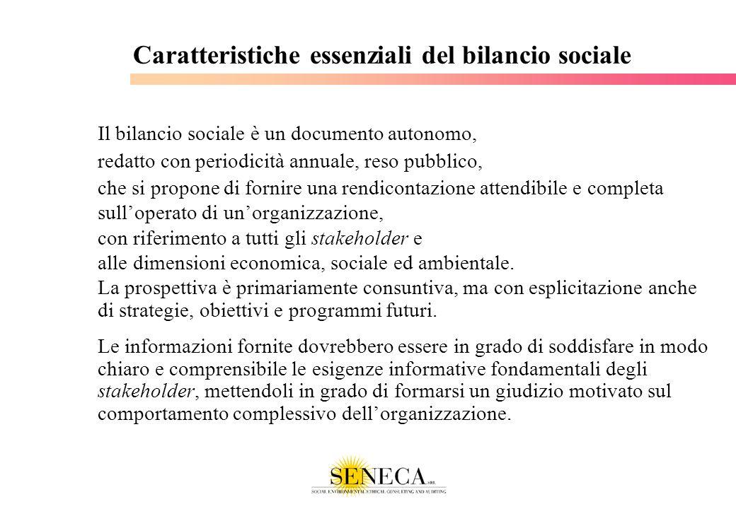 Caratteristiche essenziali del bilancio sociale Il bilancio sociale è un documento autonomo, redatto con periodicità annuale, reso pubblico, che si pr