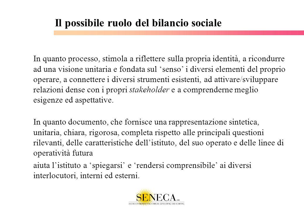 Il possibile ruolo del bilancio sociale In quanto documento, che fornisce una rappresentazione sintetica, unitaria, chiara, rigorosa, completa rispett