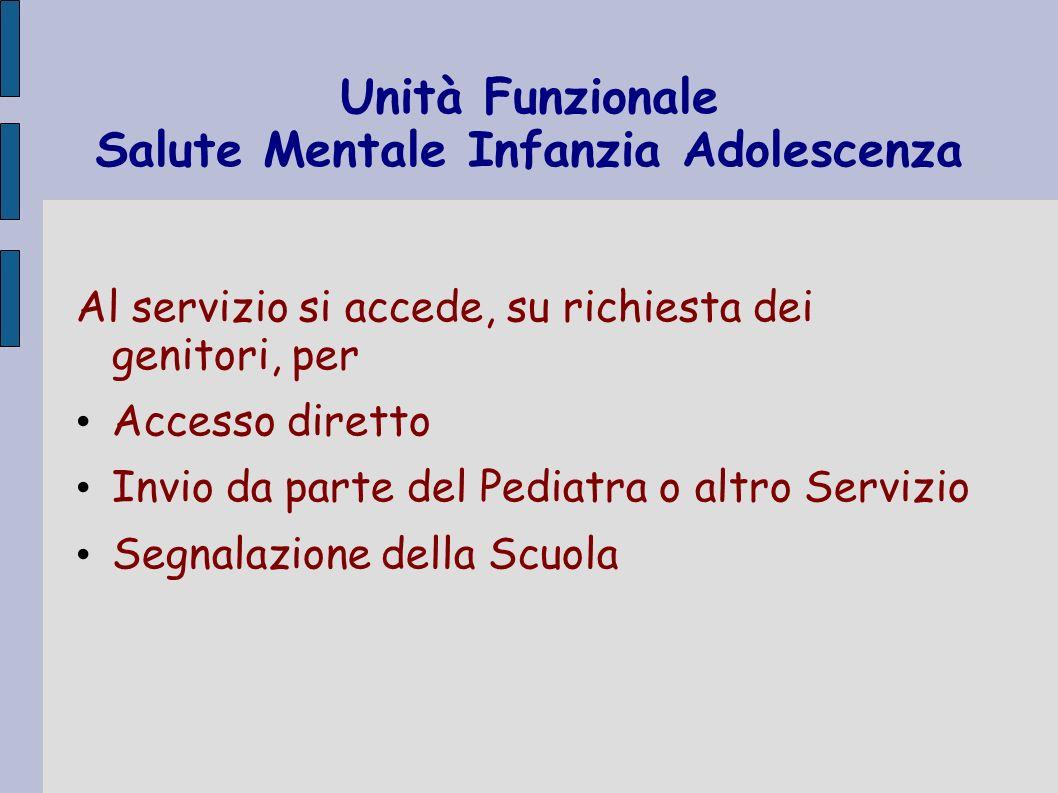 Unità Funzionale Salute Mentale Infanzia Adolescenza Al servizio si accede, su richiesta dei genitori, per Accesso diretto Invio da parte del Pediatra