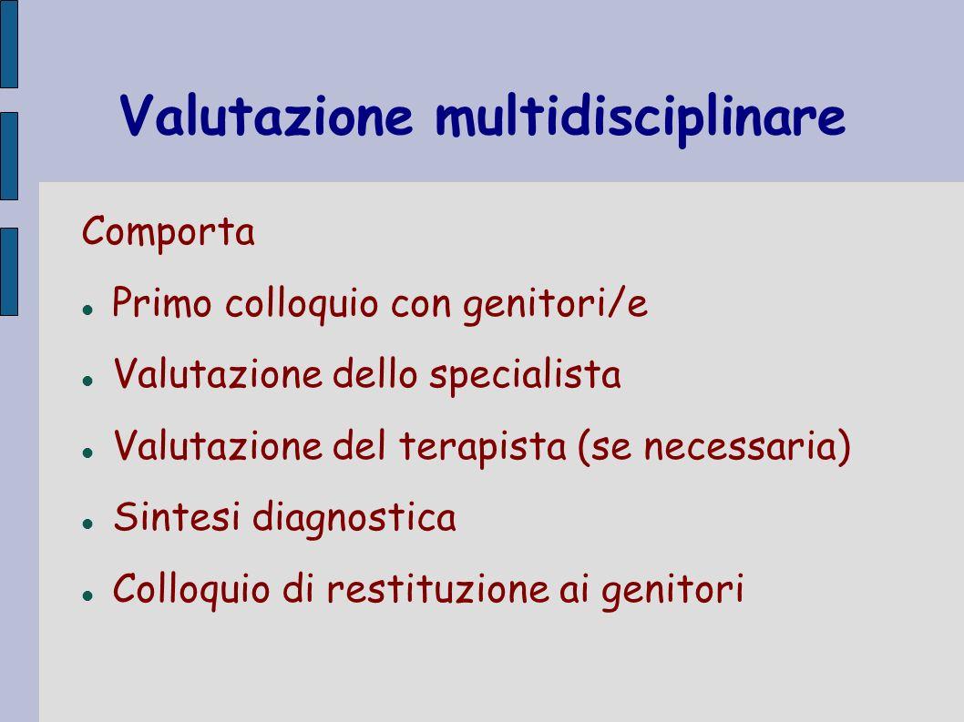 Valutazione multidisciplinare Comporta Primo colloquio con genitori/e Valutazione dello specialista Valutazione del terapista (se necessaria) Sintesi