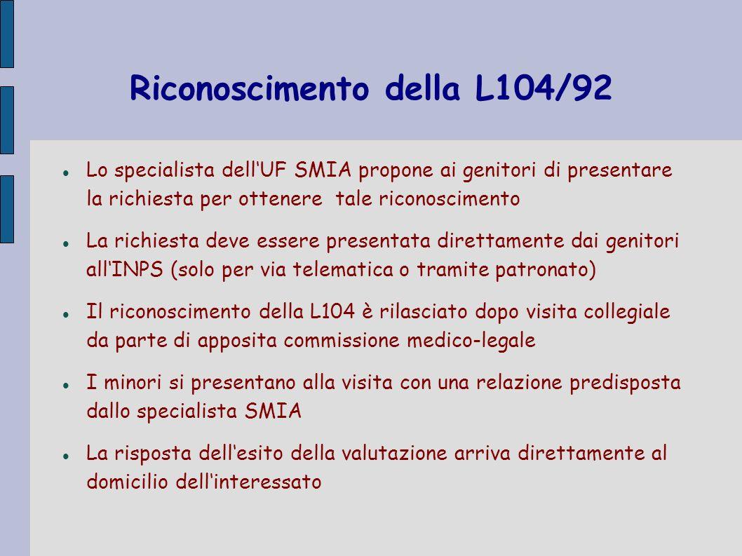 Riconoscimento della L104/92 Lo specialista dellUF SMIA propone ai genitori di presentare la richiesta per ottenere tale riconoscimento La richiesta d
