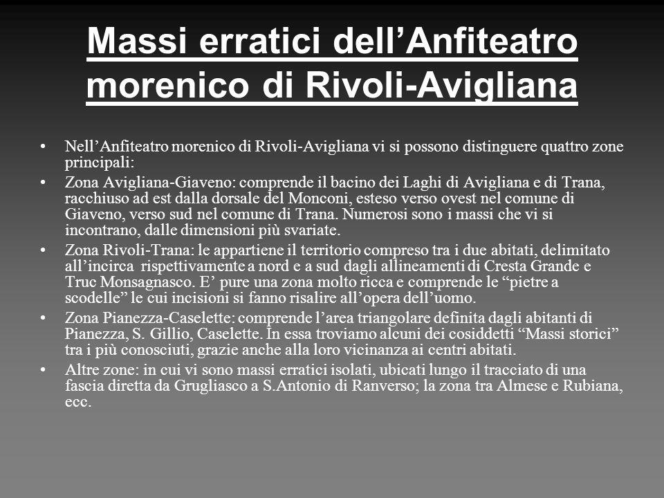 Massi erratici dellAnfiteatro morenico di Rivoli-Avigliana NellAnfiteatro morenico di Rivoli-Avigliana vi si possono distinguere quattro zone principa