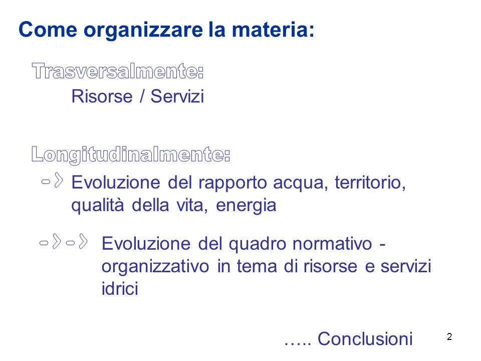 2 Evoluzione del rapporto acqua, territorio, qualità della vita, energia Evoluzione del quadro normativo - organizzativo in tema di risorse e servizi